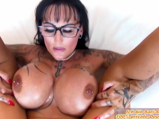 amateur German milf big tits boobs fucks in oil POV n glasses pov