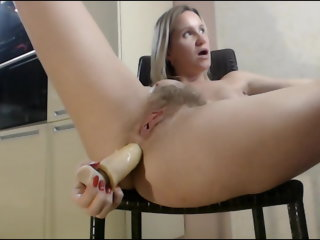 anal Hairy pussy wife fucks her asshole with toy on chair sex toy