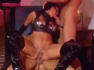 anal Babe in PVC thigh high boots and gloves anal spitroast babe