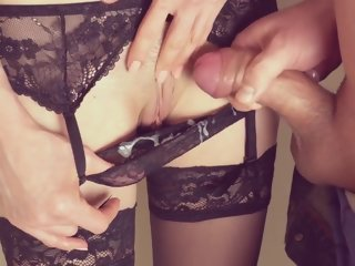 massive Massive cumming inside secretary's panties and on her pussy by jerking off secretary