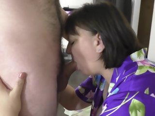 mature Mature stepmom gives son blowjob and anal sex in big ass son