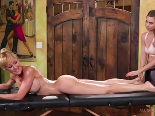 brandi Brandi Love and Jill Kassidy are making love on a massage table and moaning during intense orgasms jill