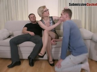 wild Dirty minded blonde milf is having a wild anal threesome with two horny guys, on the sofa threesome
