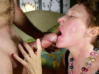 blowjob Cock hungry mature lady sucks dick for a facial cumshot hardcore