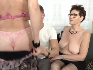 amateur Two mature moms fuck lucky son mature