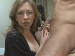 blowjob mom's girlfriend has chosen my dick handjob