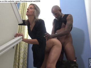 amateur blonde fucked by black guy during party creampie