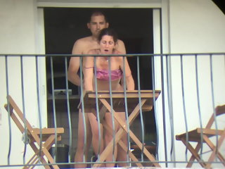 anal The neighbor gets fucked from all sides on the balcony public nudity