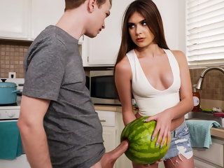 blowjob StepSister Caught   Brother Masturbating With A Watermelon hd videos
