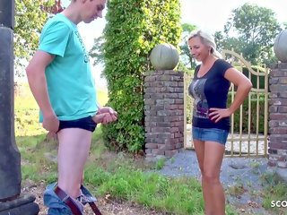 mom and teen boy Mother catches stepson jerking off in the garden and lets him fuck her mother caught son