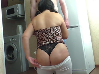 adult lady An adult lady knelt for a Blowjob before the son of a friend mother son