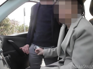 amateur Dogging my wife in public car park and she jerks off a voyeur handjob