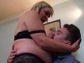 slutty Slutty, Blonde Mature With Big, Saggy Tits Had Sex With A Younger Neighbor And Enjoyed It mature