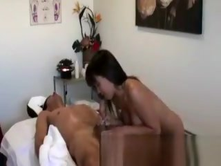 straight Asian masseuse getting nasty with clients slong blowjob