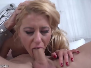 cock Delightful blonde in a floral dress, Nikky Thorne is eagerly sucking a huge cock, like a pro sucking