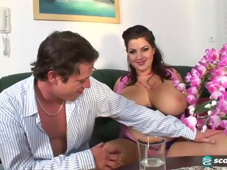 tits Chubby lady, Angelina Vallem was rubbing her partner's huge dick against her very big tits huge